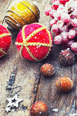 New year baubles and decorations — Stock Photo