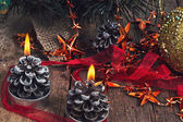 Two lighted Christmas candles — Stock Photo