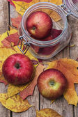 Three ripe apple autumn varieties — Stock Photo
