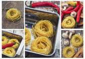 Process of preparing pasta and ingredients — Stock Photo