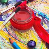 Red paint,brushes — Stock fotografie