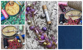 Sewing supplies and samples of fabric — Stockfoto