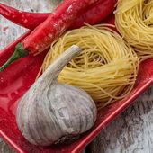 Cooking with delicious Italian pasta — Stockfoto