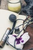 Landschap met hulpprogramma's voor het naaien activiteiten — Stockfoto