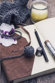 Scenery with tools for sewing activities — Stock Photo