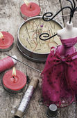 Sewing tools and decorations — Stock Photo