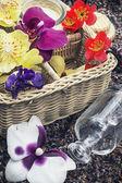 Cesta con diversas flores — Foto de Stock