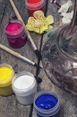 Paint for painting in cans — Stock Photo