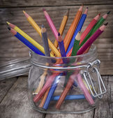Wooden pencils of different colours — Stock Photo