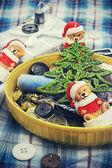 Old new-year toys and sewing belonging — Stock Photo