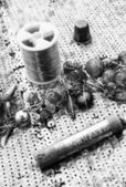 Ancient sewing accessories — Stok fotoğraf