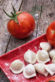 Fresh tomatoes and cook ravioli — Stock Photo