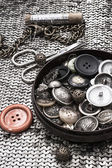 Buttons and zipper — Stock Photo