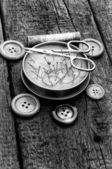 Tools for sewing monochrome style — Stock Photo