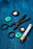 Buttons and sewing tool — Stock Photo