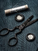 Scissors button,thread — Photo