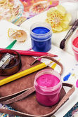Watercolor and brush for painting — Stock Photo