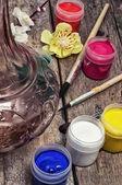 Aquarel en borstel voor schilderij — Stockfoto