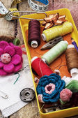 Crafts and sewing accessories — Stock Photo
