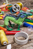 Creative modeling child of colored clay — Stockfoto