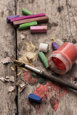 Color paints,crayons and pencils — Stock Photo