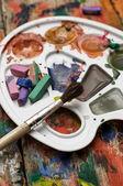 Farbe Farben, Buntstifte und Bleistifte — Stockfoto