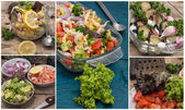 Collage salads of fresh vegetables — Stock Photo
