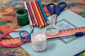 School items and accessories — Stock fotografie