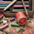 Color paints, crayons and pencils — Stock Photo #51143135