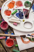 Color paints, crayons and pencils — Stock Photo