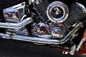 Chrome Yamaha engine with reflections — Stock Photo