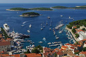 Harbor of old town Hvar on island Hvar — Stock Photo