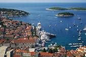 Big yacht in Hvar harbour — Stock Photo