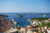 Harbor of old town Hvar on island Hvar — Stock Photo