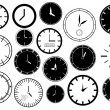 Set of clocks illustration — Imagens vectoriais em stock