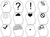 Head icons with idea symbols — Stock Vector