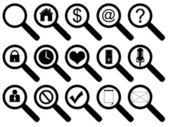 Magnifier Icon Set — Stock Vector