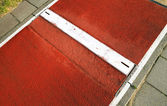 Long jump spring plank close up — Stock Photo