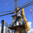 Visiting huge steam crane in Dordrecht - Stock Photo