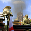 Stock Photo: Helmets on an old steam locomotive