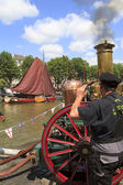 Old steam locomotive Wolwevershaven harbor — Stockfoto