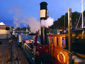 Steamboat Hercules moored at night — Stock Photo