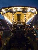 Steam engine being viewed at night — Stock Photo