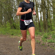 Стоковое фото: JolandNell running wooded part of course