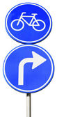 Blue road sign with arrow turn right for bicycles — Stockfoto