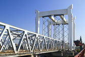 Railway bridge across the river Maas — Stock Photo