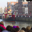 Boat of Saint Nicolas entering  the harbor of Dordrecht — Stock Photo