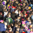 Crowd of adults and children waiting for arrival of St Nicolas — Stock Photo