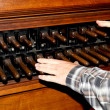 Man playing a carillon in Dordrecht cathedral — Stock Photo
