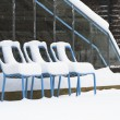 Stock Photo: Three snow covered chairs by greenhouse